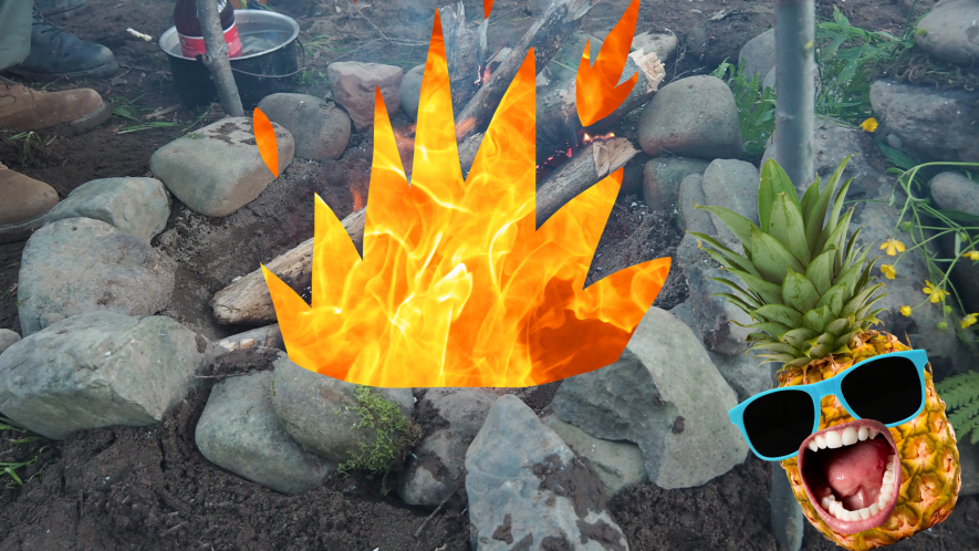 Fire in stone circle with cartoon fire and screaming pineapple in sunglasses