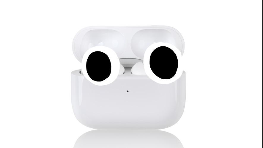 Airpods on white background with eyes