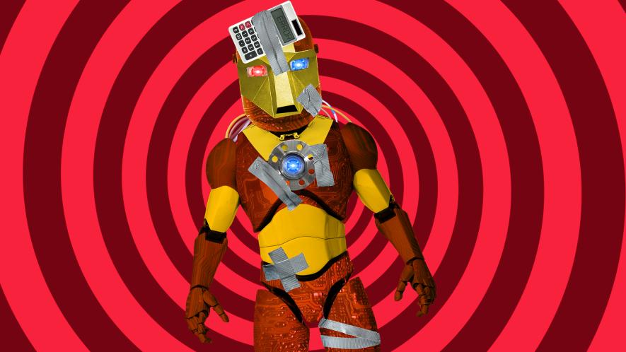 Iron man on spiral background