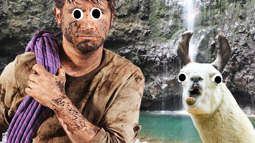 Tough out door man and derpy llama next to waterfall