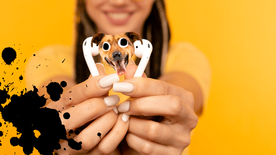 Woman on yellow background holding airpods with splat and dog face