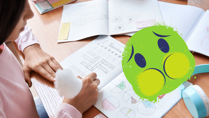 Child doing homework with sick emoji