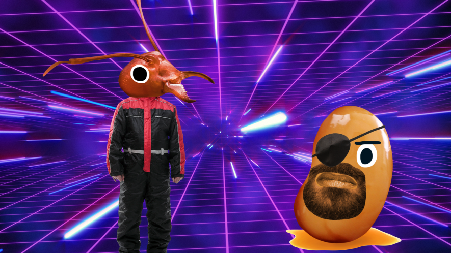 Ant man and Nick Fury baked bean on laser background