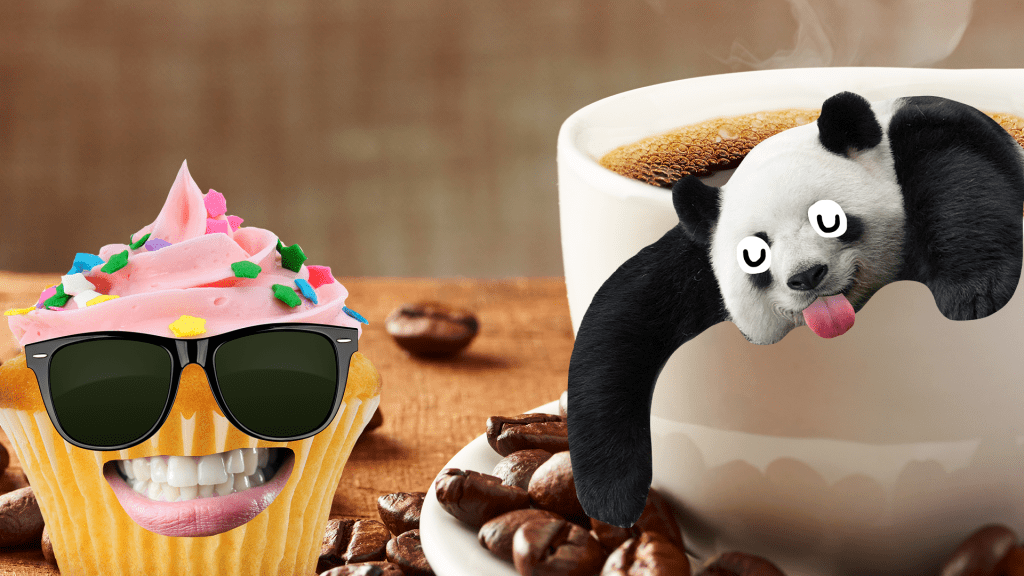 Coffee and coffee beans with cool cupcake and derpy panda