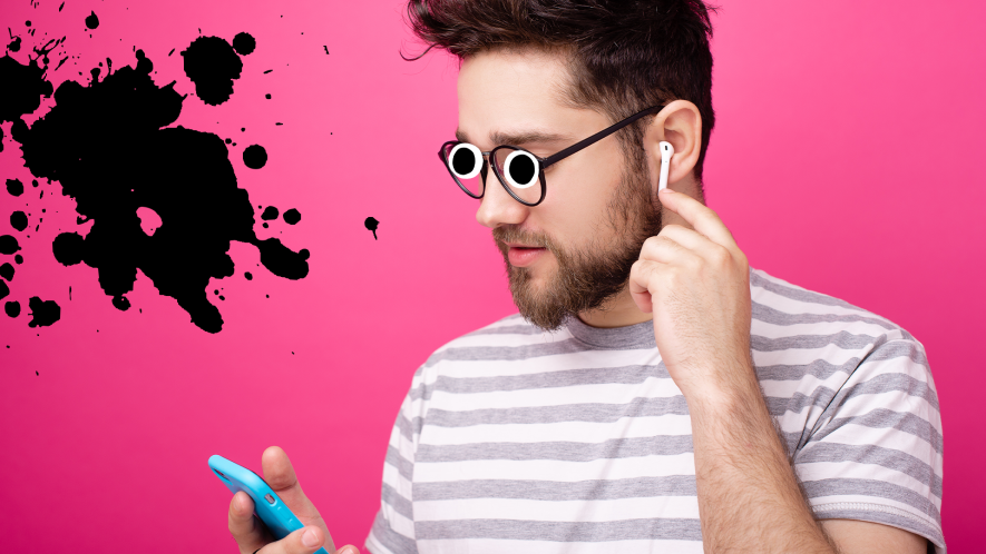 Man with airpods on pink background with splat