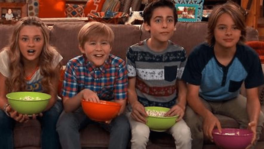 Nicky, Ricky, Dicky & Dawn eating popcorn