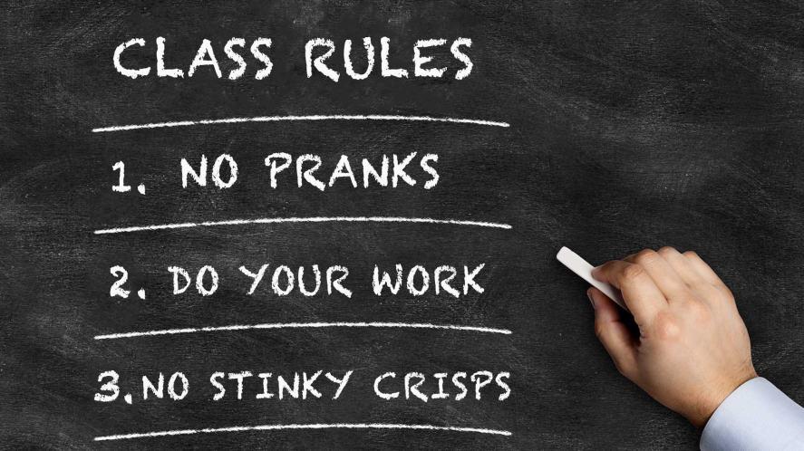 Rules on a chalkboard