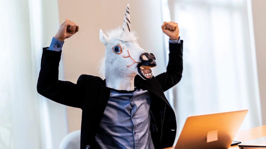 Man in unicorn mask
