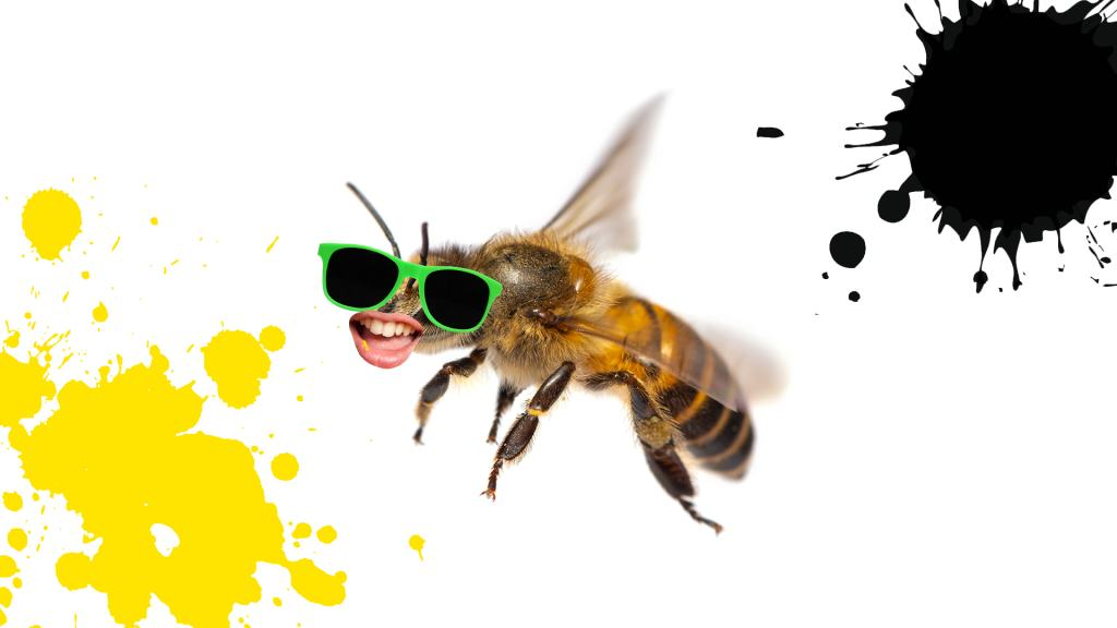 A grinning bee wearing green sunglasses