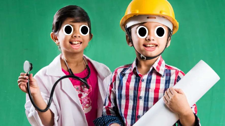 Two children, dressed as a doctor and construction worker