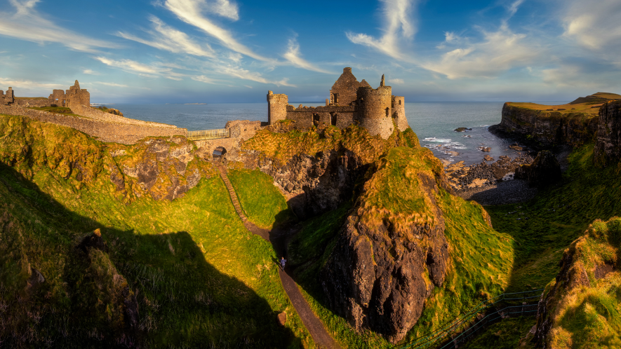Spooky hilltop castle by the sea