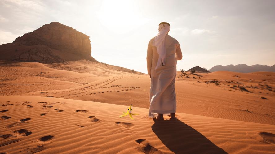 A man standing on a sand dune