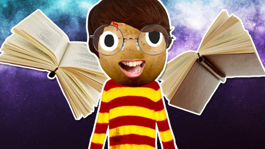 Potato Parody Harry Potter and flying books