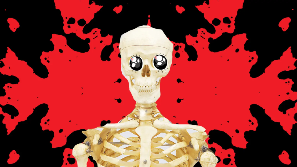 Smiling skeleton in front of a black and red background
