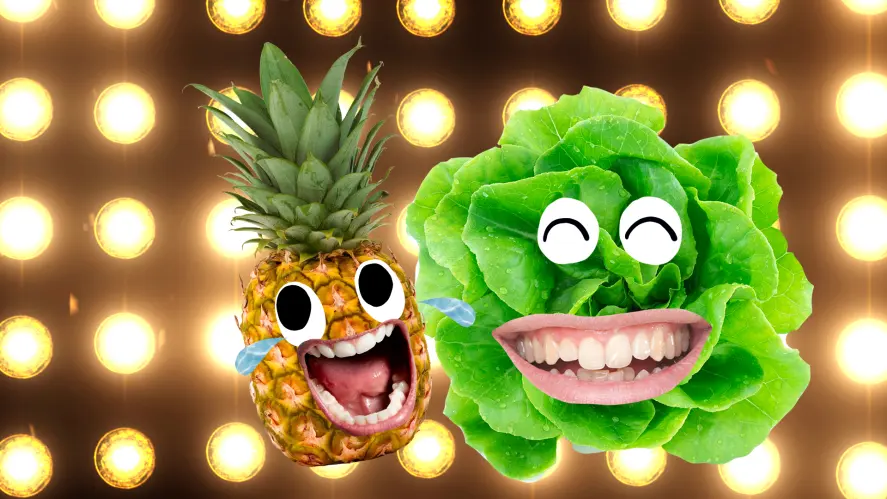 Laughing pineapple and lettuce