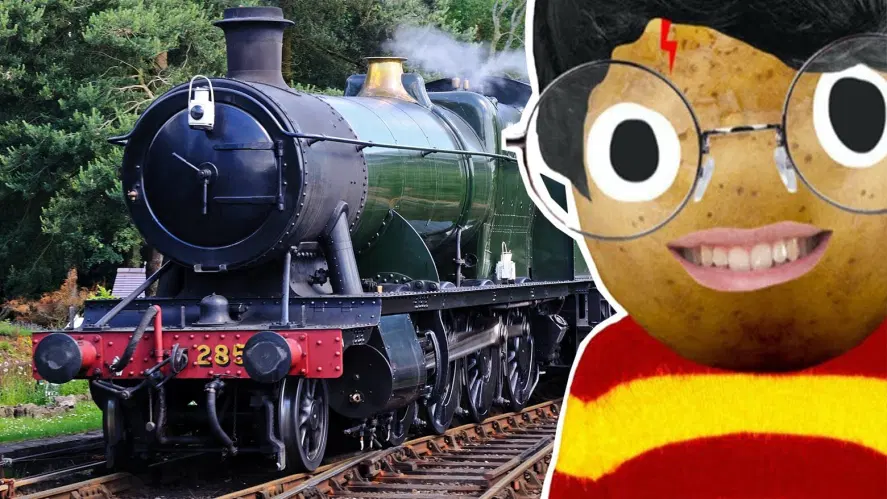 Harry Potter and a steam train