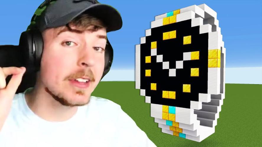 MrBeast displays a big Minecraft watch