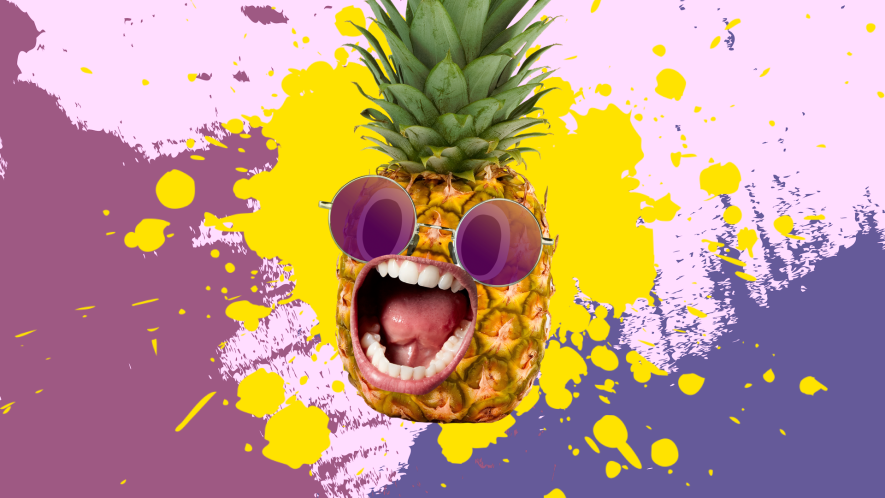 A pineapple and a three colour background
