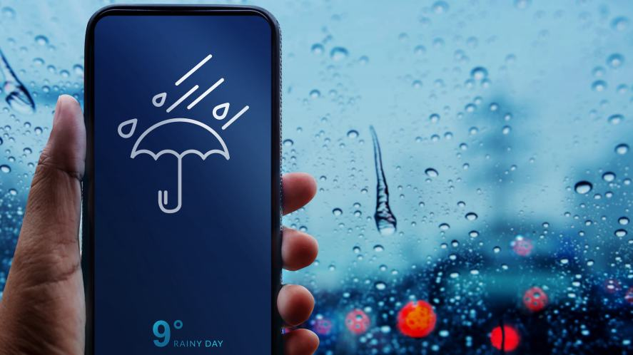 An app showing the weather on a rainy day