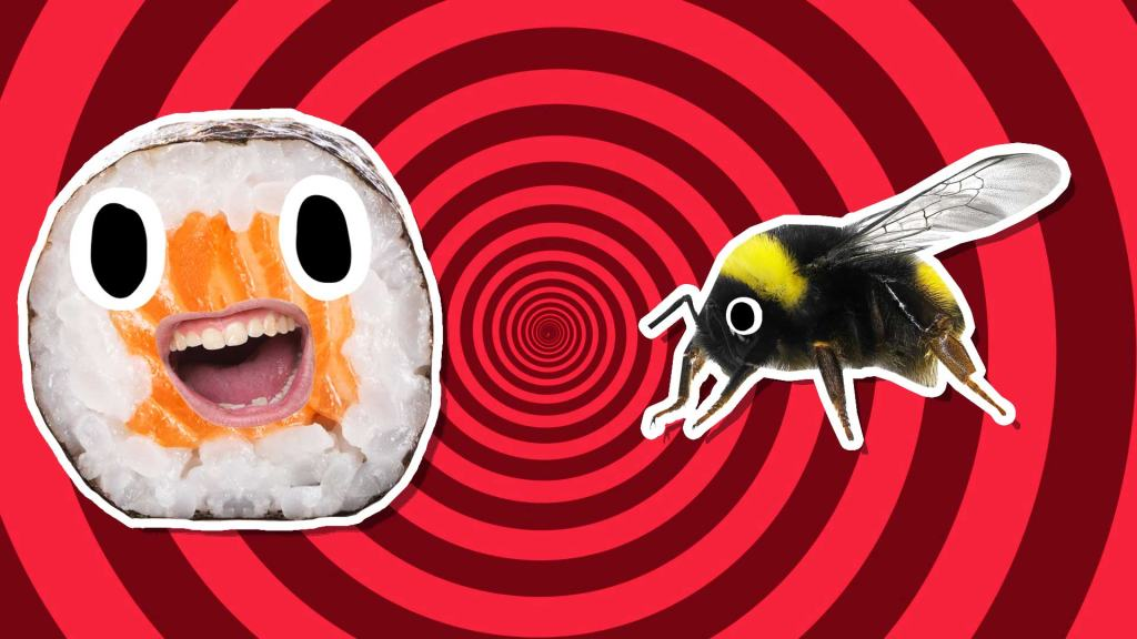 A grinning sushi and a black and yellow bee