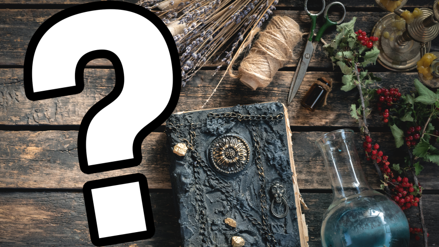 Book of magical spells and potions and question mark