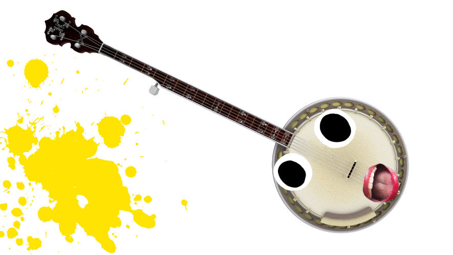 Banjo with derpy face and yellow splat on white background