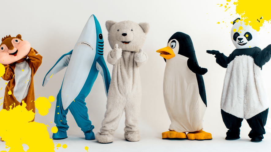 Mascots on white background with yellow splat
