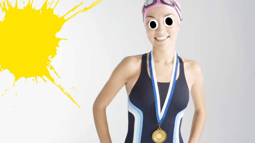 Female swimmer with medals on white background with yellow splat