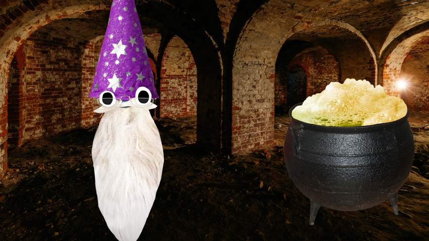 Beano Dumbledore and cauldron in Dungeon
