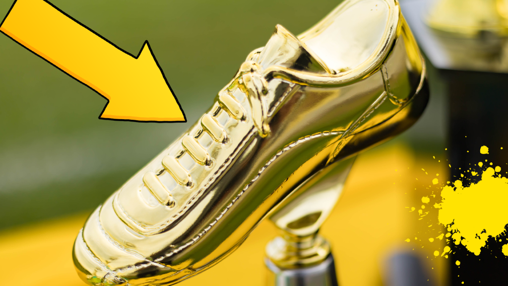 Golden football boot with arrow and yellow splat