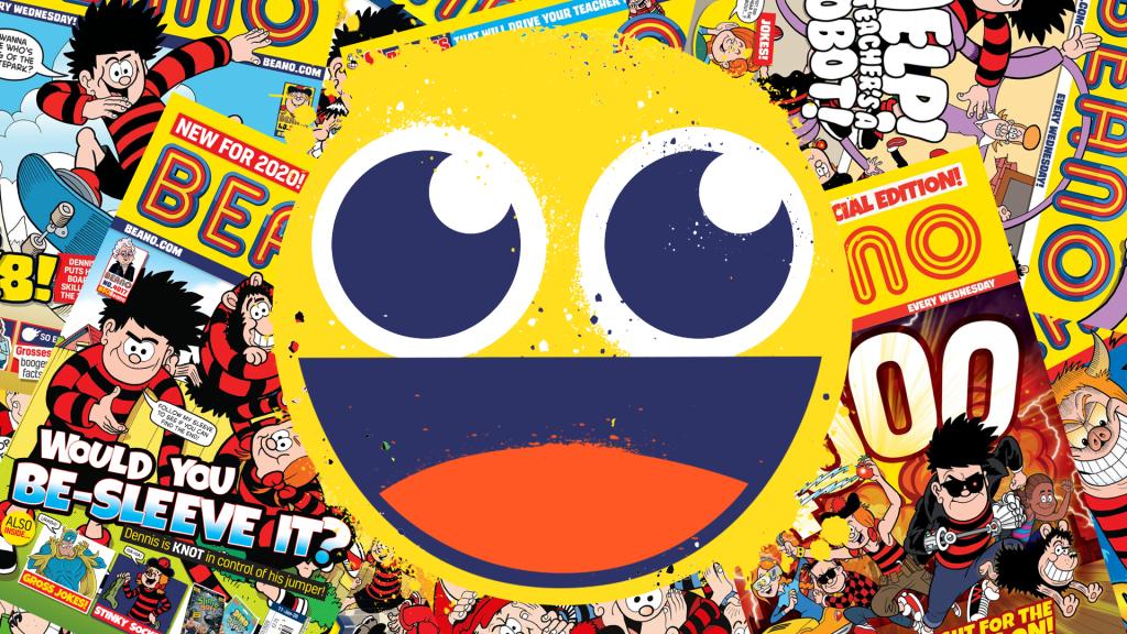 Smiley emoji on beano comic background