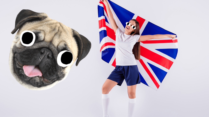 Woman with UK flag on white background with derpy dog face
