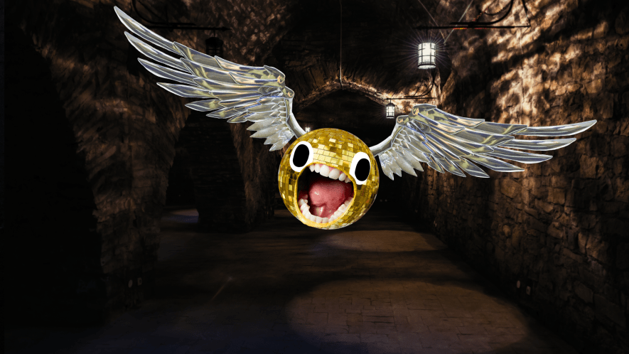 Screaming snitch in gloomy dungeon