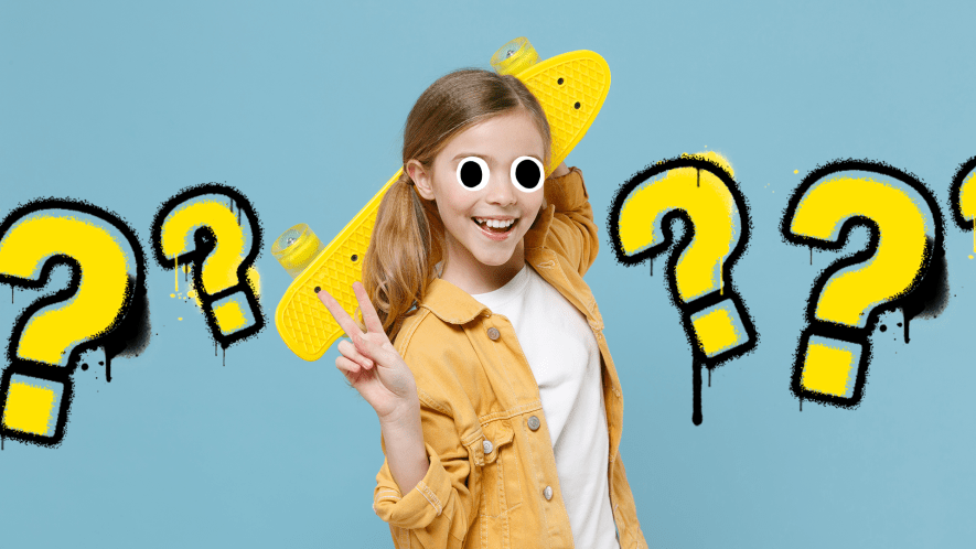 Girl with skateboard on blue background with question marks