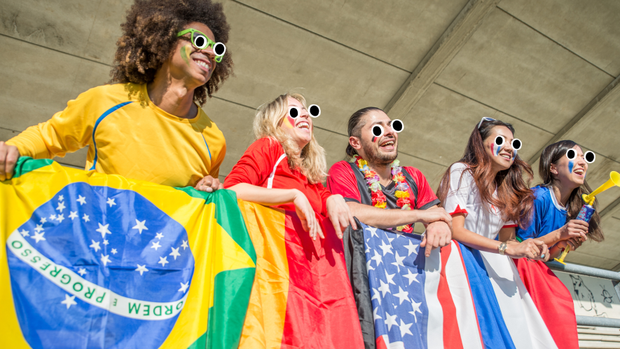Olympics fans with flags