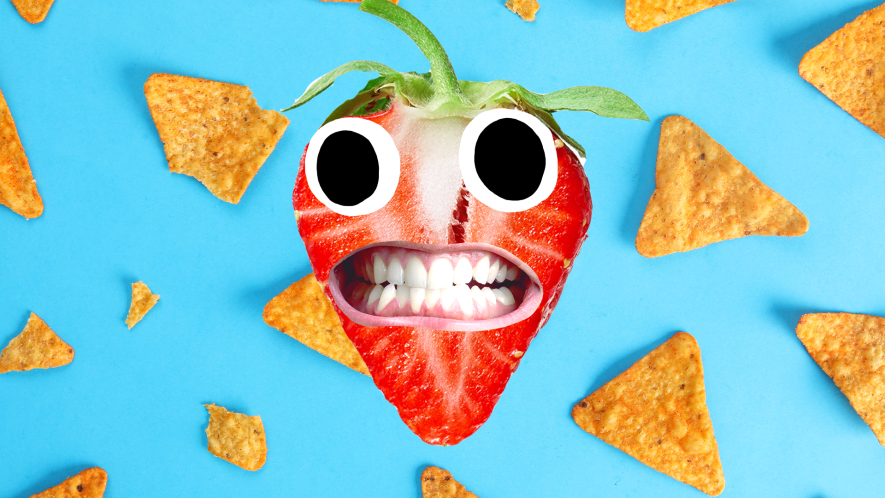 Strawberry with derpy face on dorito background