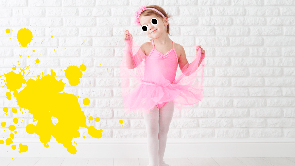 Little girl in tutu on white background with yellow splat