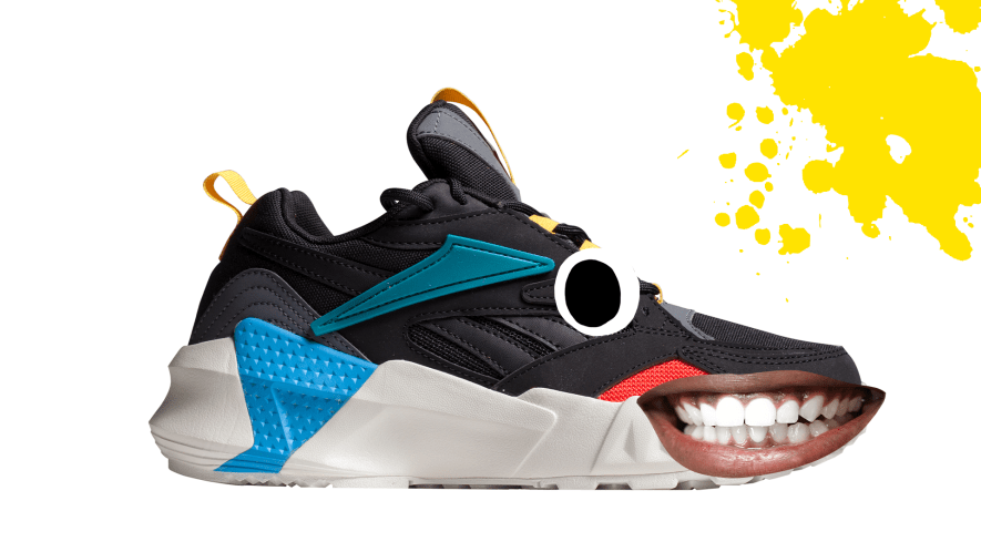 Shoe with goofy face and yellow splat on white background