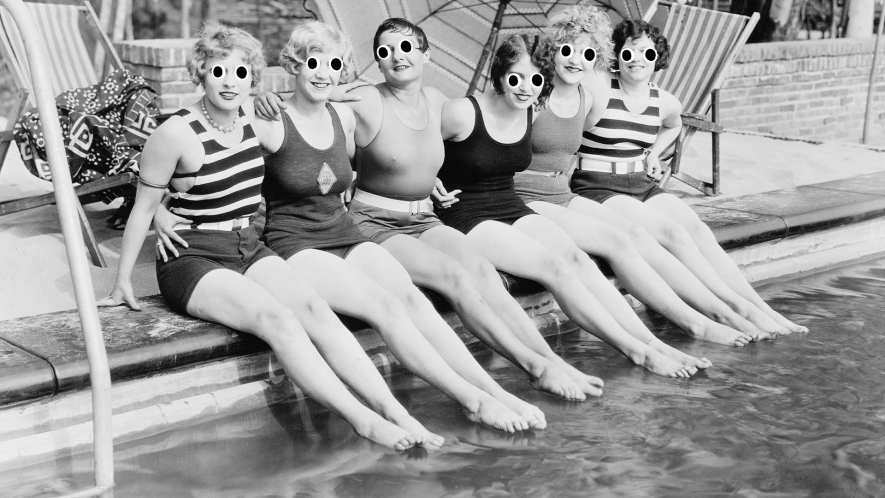 Vintage photo of female swimmers by pool