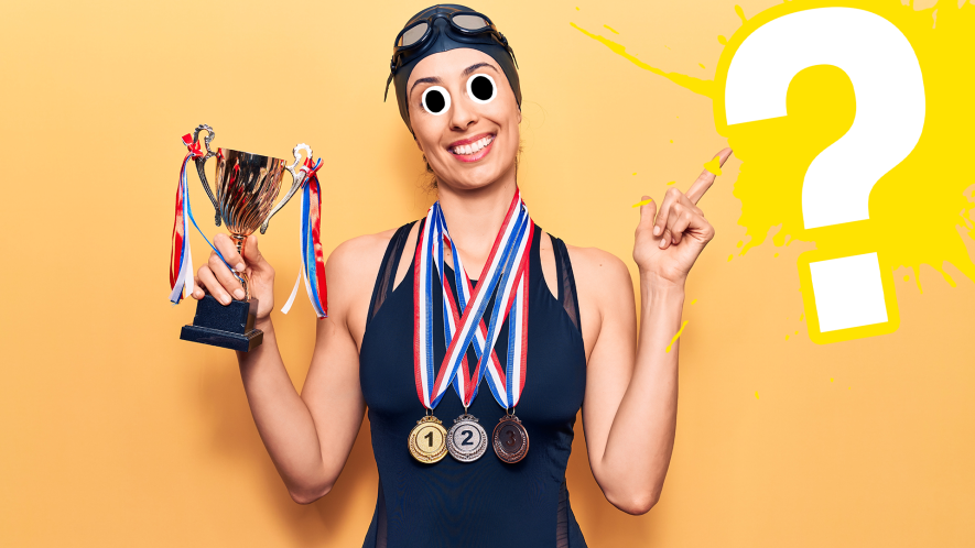 Female swimmer with medals and trophy on orange background with yellow question mark
