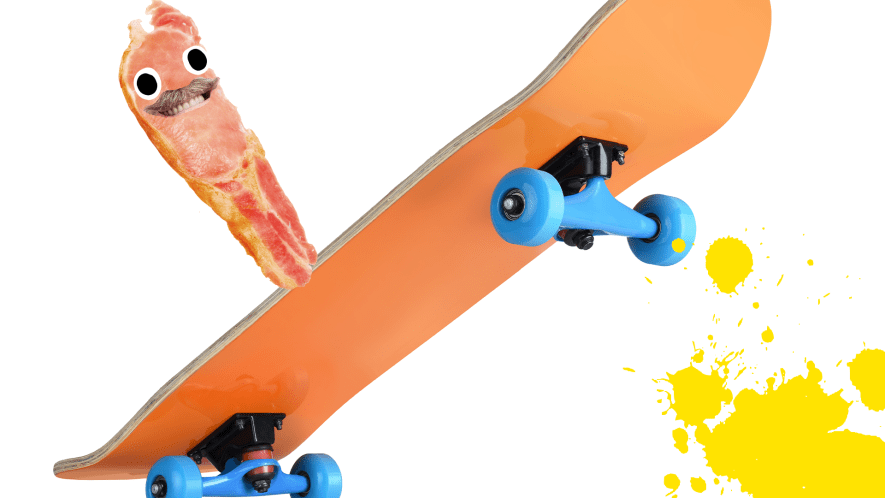 Bacon dad on skateboard with yellow splat on white background