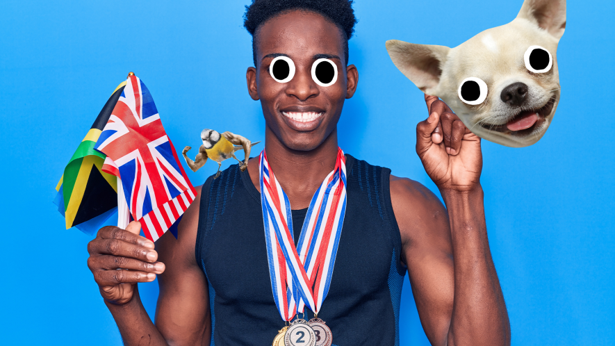 Man holding flags and medal on blue background with derpy dog face