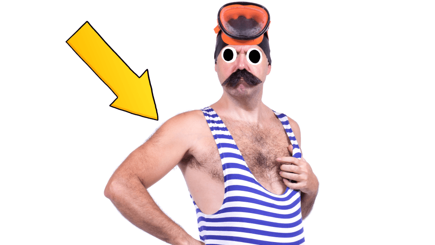 Man in old fashioned stripey bathing suit on white background with arrow