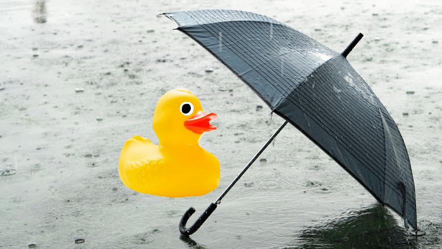 Umbrella in rain with rubber duck