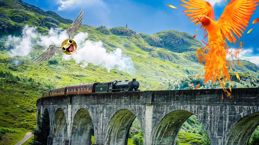 Steam train on viaduct with screaming snitch and phoenix