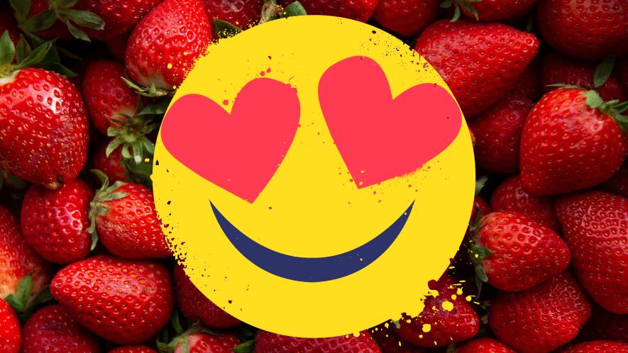 Strawberries with heart eyed emoji