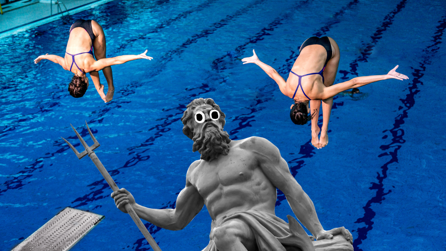 Divers in pool and Beano Neptune statue