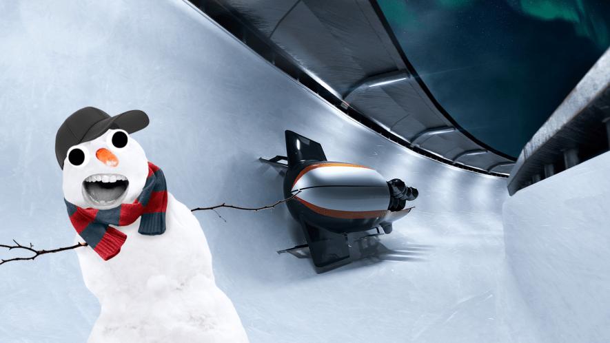Bobsleigh with Beano snowman