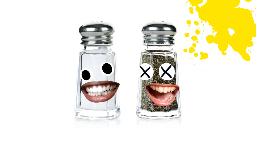 Salt and pepper shakers with derpy faces, yellow and white background