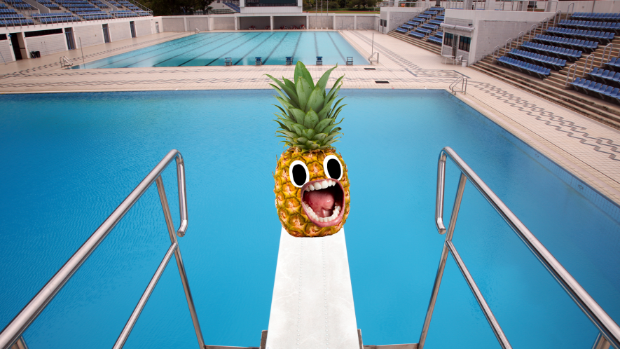 Screaming pineapple on diving board